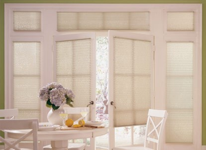 Timber Light Filtering Pleated Shades with privacy liner option
